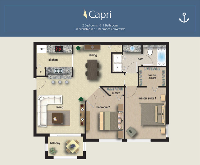 Yacht club on the intracoastal 5 floorplans for Capri floor plan